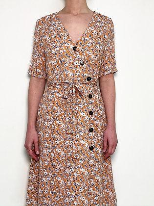 pale orange floral midi wrap dress