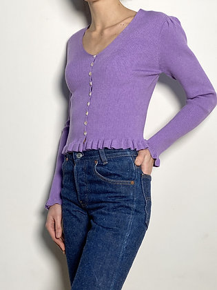 purple ruffled sweater