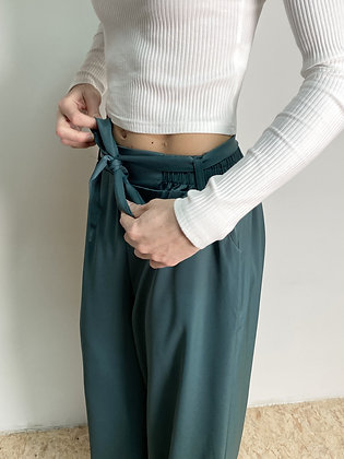green relaxed flared trousers