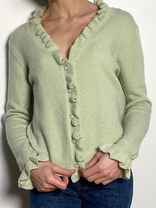light green ruffled cardigan