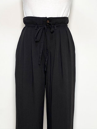 black relaxed wide trousers