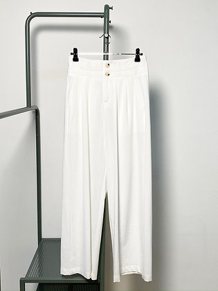 white high waisted wide trousers
