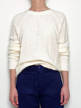 white knitted wool blend sweater