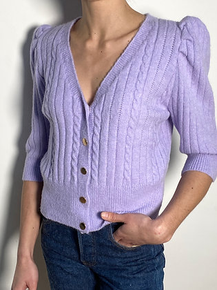 lilac puff sleeves cardigan