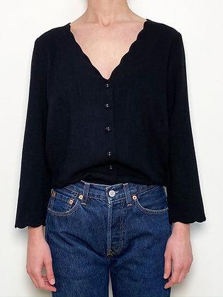 black v-cut linen button up shirt