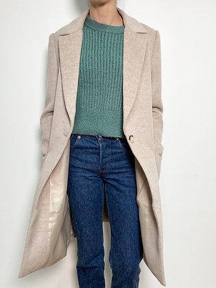 beige wool blend long coat