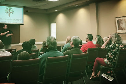Members sat and watched Kevin provided a lead worship.