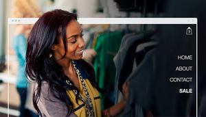 eCommerce website featuring a woman shopping for clothing.