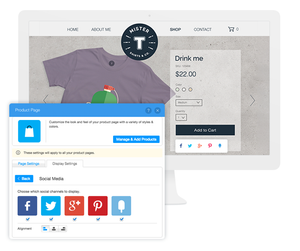 Social media settings for an online store's product page.