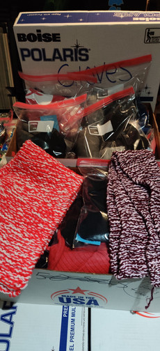 Donated gloves, hats, socks, t-shirts & scarves