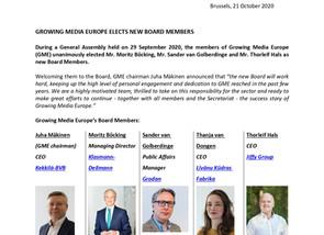 GROWING MEDIA EUROPE ELECTS NEW BOARD MEMBERS