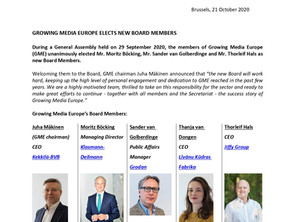 GROWING MEDIA EUROPE ELECTS NEW BOARD MEMBERS
