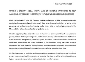 COVID-19 : GROWING MEDIA EUROPE CALLS ON NATIONAL AUTHORITIES TO KEEP  GARDENING CENTRES OPEN TO CON