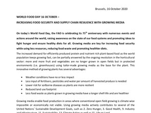 WORLD FOOD DAY 16 OCTOBER – INCREASING FOOD SECURITY AND SUPPLY CHAIN RESILIENCE WITH GROWING MEDIA