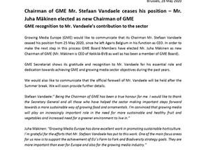 Chairman of GME Mr. Stefaan Vandaele ceases his position – Mr. Juha Mäkinen elected as new Chairman