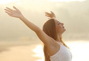 Relaxed Woman Breathing Fresh Air Raisin