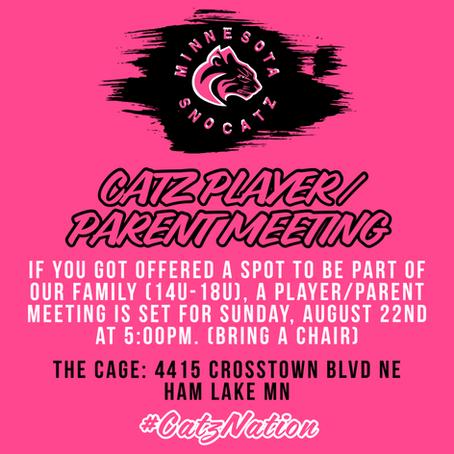 Catz Parent / Player Meeting - Sun August 22nd