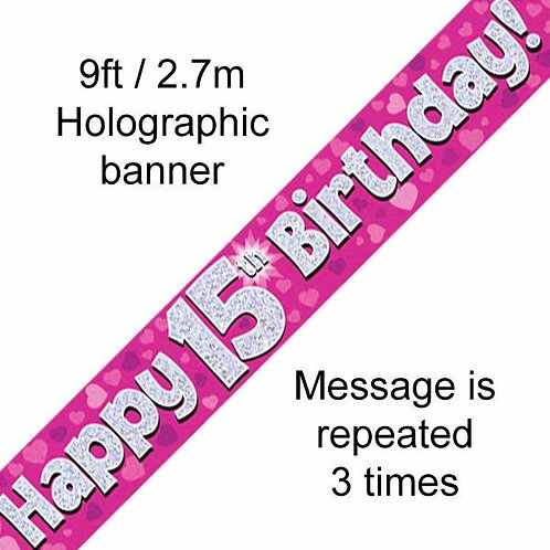 Pink Birthday Banners Ages 1-15