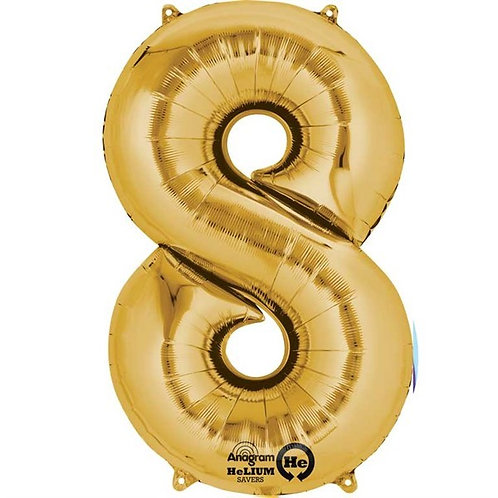 Big Number Balloons in Gold