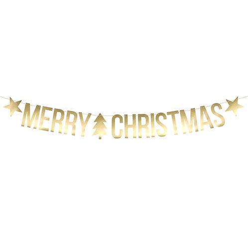 Merry Christmas Metallic Gold Letter Paper Garland