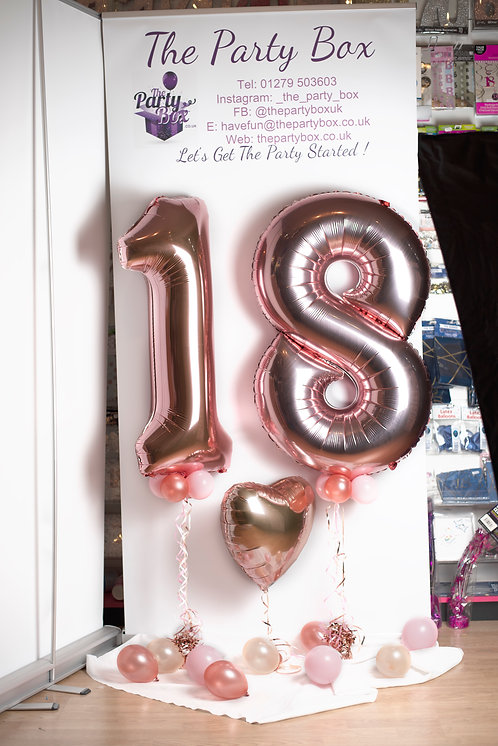 Rose Gold Number Heart Combo