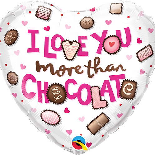 I Love You More Than Chocolate - Foil Balloon
