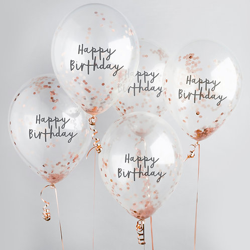 Rose Gold Happy Birthday Confetti Latex