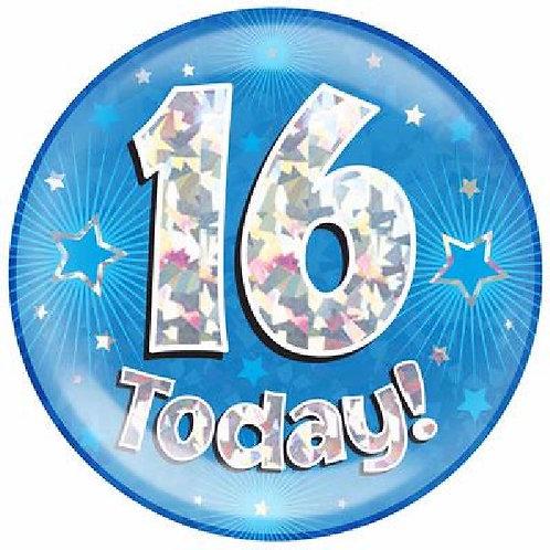 Blue Jumbo Milestone Birthday Badges Ages 16-90