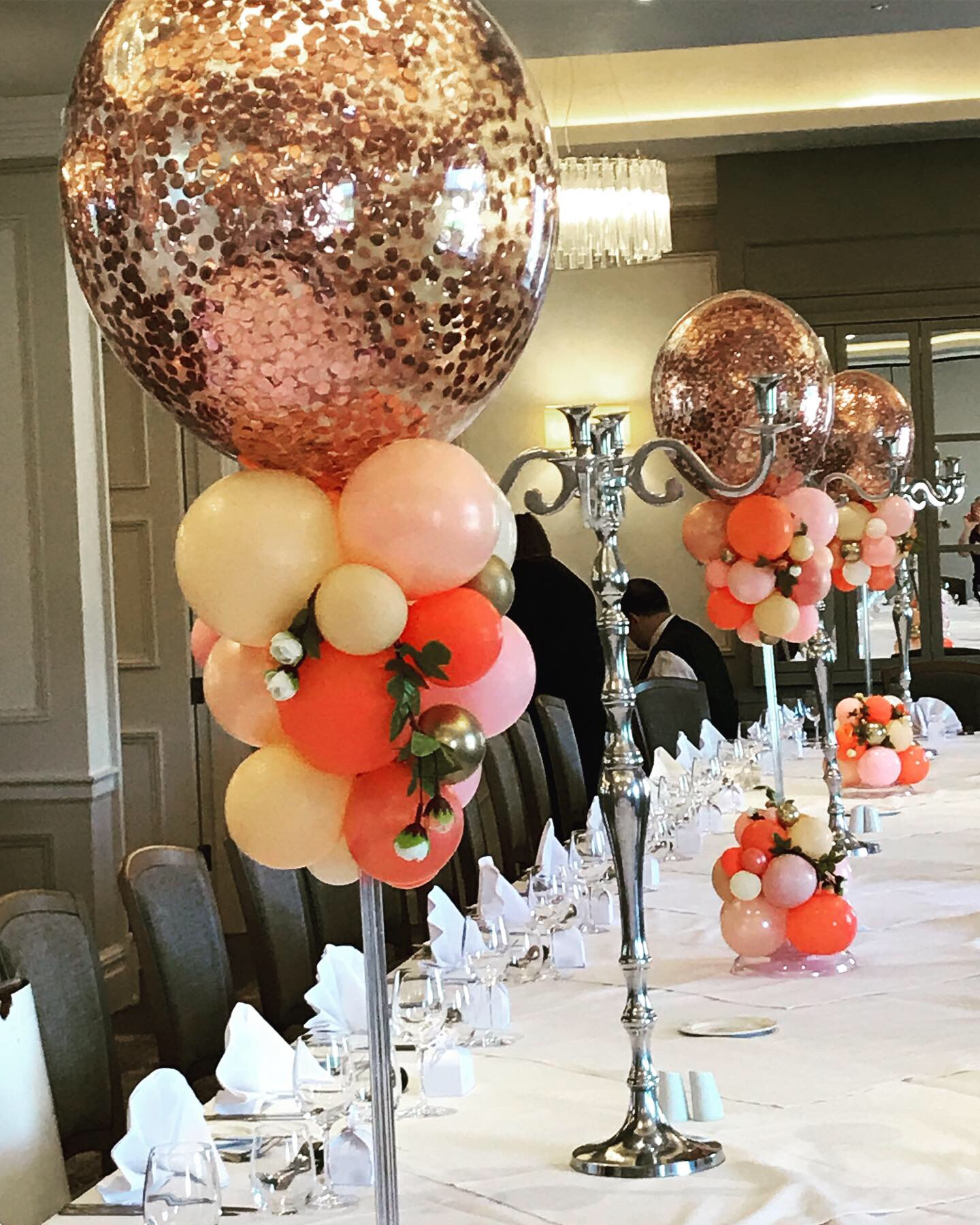 Rose Gold Confetti Centre Pieces
