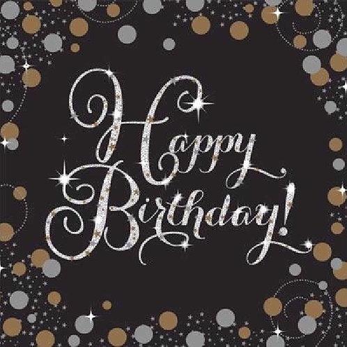 Black & Gold Birthday Napkins