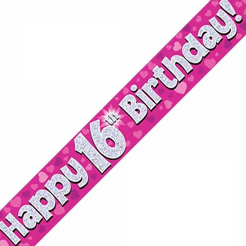 Pink Milestone Birthday Banners Ages 16-80