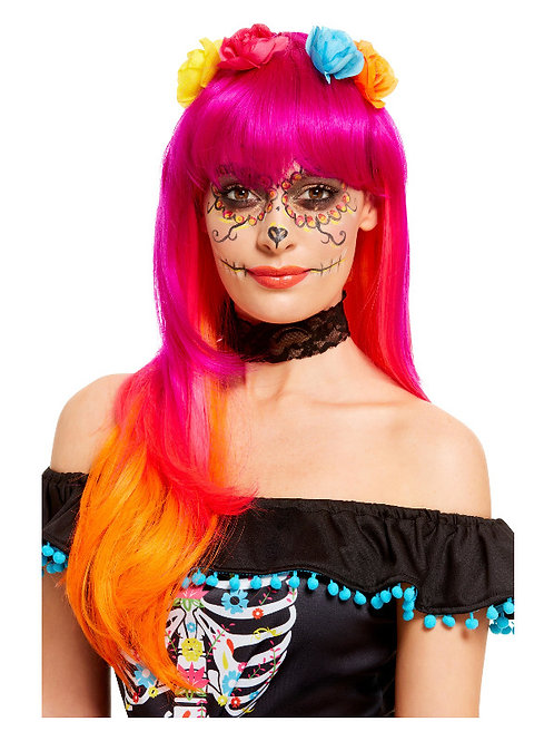 Day of the Dead orange/pink ombre