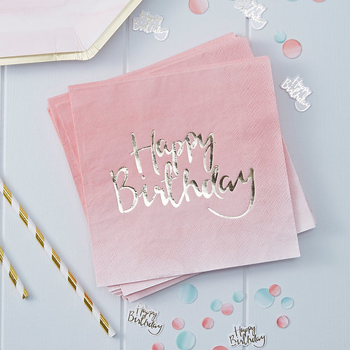 Pink & Gold Foil Ombre Happy Birthday Napkins