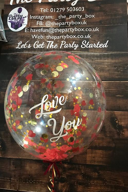 """Love You"" Confetti Bubble in Personalised Gift Box"