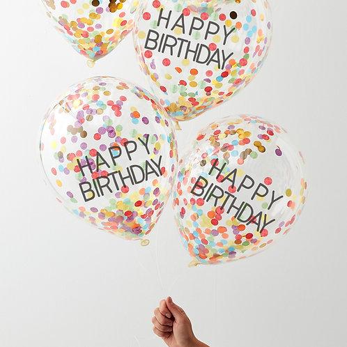 Happy Birthday Rainbow Confetti Balloons