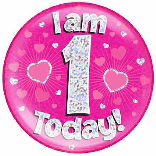 Pink Jumbo Birthday Badges Ages 1-15