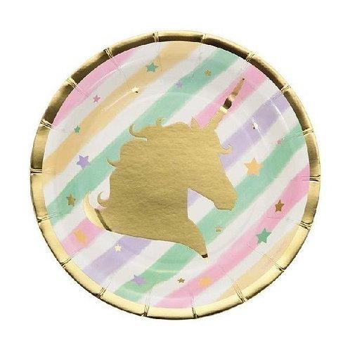 Unicorn Sparkle Paper Plates - Pk 8
