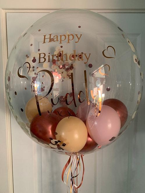 Rose Gold, Blush & Soft Pink Confetti Bubble Balloon