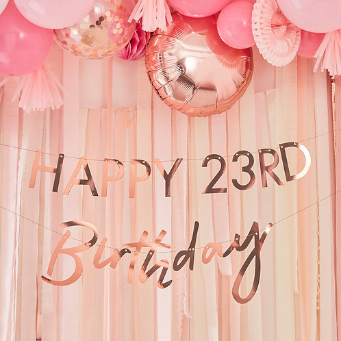 Any Number Rose Gold Birthday Bunting