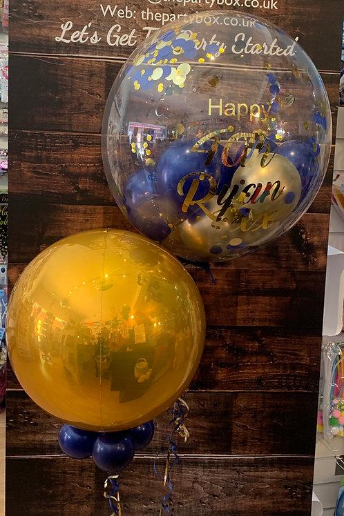 Navy Gold Orbz Bubble