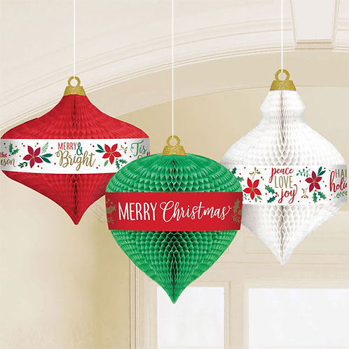 Traditional Christmas Honeycomb Hanging Decorations