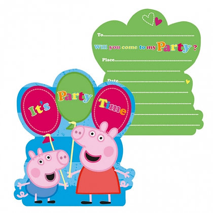 Peppa Pig Birthday Party Invitations Pk6