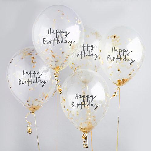 Gold Happy Birthday Confetti Latex