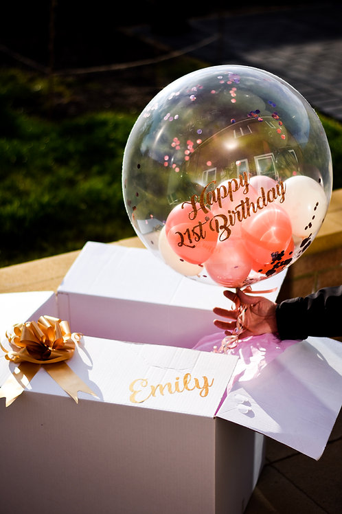 Confetti Bubble Balloon with Personalised Gift Box