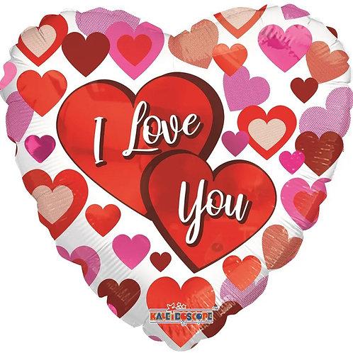 I Love You Big Hearts - Foil Balloon
