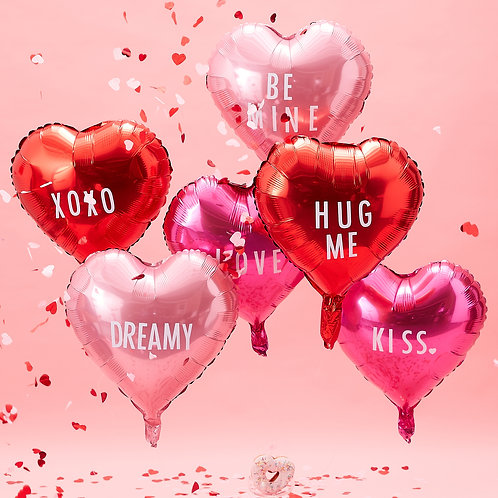 Pink Foil Heart balloons with Stickers
