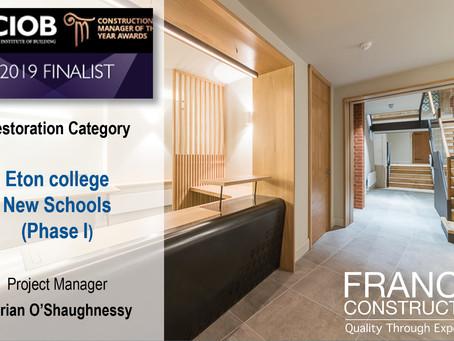 Francis Construction shortlisted for CIOB CMYA 2019