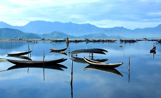 Photo of boats on a Vietnamese lake