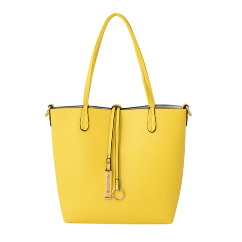 Yellow/Grey Reversible Faux Leather Tote Bag