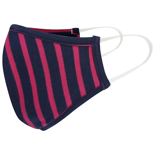 Pink and Navy Stripe Cotton Jersey Face Mask